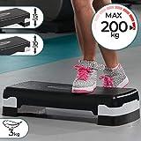 Physionics Aerobic Steppbrett - 2 Stufen (10 und 15 cm) höhenverstellbar, Anti-Rutsch Gummibezug, max. 200kg - Fitness Stepper, Stepboard, Stepbank, Stepbench, Step Cardio Workout für Zuhause