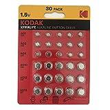 Kodak Xtralife 30 x Alkaline Knopfzellen, AG1 364 AG3 392 AG4 337 AG10 389 AG12 386 AG13 357