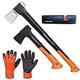 FISKARS Set Spaltaxt X25 - XL + Universalaxt X7 - XS + Xsharp Axt- und Messerschärfer + Handschuhe