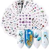 Nagelsticker, Kapmore 24 PCS Nail Art Nail Sticker Nail Sticker Set Kunst Aufkleber Maniküre Deko (1)