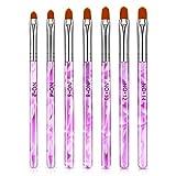 NICEMOVIC 7 Stück UV Gel Pinselset Gelnägel für Nail Art Acryl Pinsel Nageldesign Stifte,7 Größen