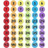 Firtink 48 Stücke Teppich Punkt Marker 4 Zoll Zahlen Markierungsteller für Kinderspiele, Unterrichtsstunden, Sport
