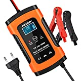 Opamoo Autobatterie Ladegerät Batterie Ladegerät Auto 12V 5A Vollautomatisches Batterieladegerät Auto Erhaltungsladegerät mit LCD Mehrfachschutz für Autobatterie, Motorrad, Rasenmäher oder Boot