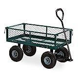 Relaxdays Handwagen, praktischer Bollerwagen für den Garten, Outdoor Transport, klappbare Seitenteile, bis 150 kg, grün