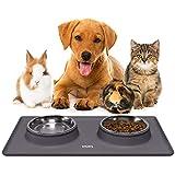 Katzenfutter Unterlage aus Silikon Katzennapf Hundenapf Set für Kleine Hunde und Katzen | Rutschfest und Wasserdicht | Edelstahlschüsseln Fressnapf Futternapf Fressnapfunterlage mit Rand