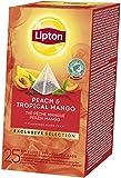 Lipton Pfirsich & Tropische Mango Schwarztee Pyramidbeutel, 1er Pack (1 x 25 Teebeutel