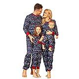 Weihnachten Schlafanzug Familie Pyjama Set Schlafanzüge Lang aus Baumwolle Nachtwäsche für Damen Herren Mädchen Jungen (Kinder, 100)