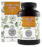 NATURE LOVE® Curcuma Extrakt - Curcumin Gehalt einer Kapsel entspricht dem von ca. 15.000mg Kurkuma - Hochdosiert mit 95% Extrakt - Laborgeprüft, vegan