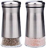 bonris Edelstahl Salz- und Pfefferstreuer Set Edelstahl mit Glasboden Salz- und Pfefferstreuer mit verstellbaren Gießlöchern