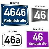 SCHILDER HIMMEL 2mm starke Metall Hausnummer Schilder nichtrostend und wetterfest | Straßen Namen Schild, Adressschild, hier Größe 25 x 20cm in vielen verschiedenen Designs erhältlich