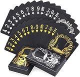 Joyoldelf 2 Coole Schwarze Spielkarten Plastik, wasserdichte Skelett-Design Pokerkarten (mit Schachtel), Für Partys und Spiele Verwendet, 1 Gold + 1 Silber