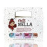 Miss Nella magische Sammlung Glitzer Nagellack 4er Set: rosa, rot Gold & blau, abziehbarer Nagellack speziell für Kinder, Peel-Off-Formel, ungiftig, wasserbasiert und geruchsneutral