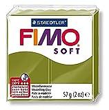 Staedtler 8020-57 ST Fimo soft Block, Modelliermasse (ofenhärtend, weich und soft, sofort modellierfähig, wiederverschließbar, Blockgröße 57 g) Trendfarbe green olive