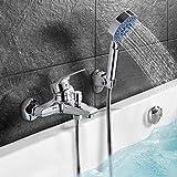 Stilvolle Badewannenarmatur Dusche set, Handbrause mit 5 Strahlarten, WOOHSE Wannenarmatur Badewanne Armatur Wasserfall, Wannenbatterie Wasserhahn inkl. Wandhalterung, Lebenslange Garantie