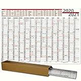 Schuljahresplaner 2020/2021 DIN A1 84,1 x 59,4 cm Schuljahres wankalender für Lehrer und Schüler mit Ferienübersicht Wandplaner wird gerollt geliefert Sonn- und Feiertage in Rot