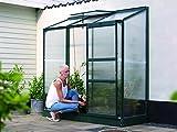 Gartenwelt Riegelsberger Anlehngewächshaus Ida - Ausführung: 1300 HKP 4 mm dunkelgrün, Fläche: ca. 1,3 m², mit 1 Dachfenster, Sockelmaß: 0,65 x 1,92 m