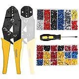 Vastar 2 in 1 Crimpzange Set, Zwei Ersatzköpfe - Aderendhülsen Zange und Krimpzange, mit 370 Stück Kabelschuhe und 800 Stück Aderendhülsen, ein Schraubendreher dient zum Austausch des Ersatzkopfes