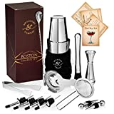 Sip Culture Profi Boston Shaker Barkeeper-Set - Edelstahl Cocktail Shaker Set mit Tragetasche: spülmaschinenfest, leicht zu öffnender Boston Shaker mit Bar-Werkzeug + Rezepte für Bar-End