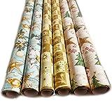 Weihnachts Geschenkpapier Weihnachtspapier 6 Rollen a`2m x 70cm Geschenkverpackung für Weihnachten Goldenes Merry Christmas Papier mit Kugeln und Sternen(hell)