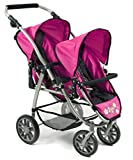 Bayer Chic 2000 689 12 Tandem-Buggy Vario, Zwillings-Puppenwagen, Dots Navy-pink