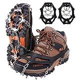 WIN.MAX Steigeisen Grödel Eisspikes, Schuhkrallen mit19 Edelstahl Zähne Spikes Schuhkrallen Grödeln Eisspikes für Klettern Bergsteigen Trekking High Altitude Winter Outdoor (Schwarz, L)