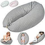 Stillkissen Schwangerschaftskissen zum Schlafen, Erholen & Stillen Seitenschläferkissen Lagerungs-Kissen für Mutter und Baby (Grau)