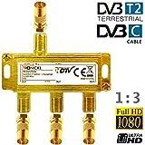 TronicXL 3-Fach Koaxverteiler Antennenverteiler SAT Verteiler Gold Koax Buchse F-Stecker mit DC-Durchlass TV Kabelfernsehen Splitter kompatibel mit für Unitymedia Vodafone HD 3D 4K weiche Koaxial