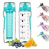 Opard Trinkflasche 900 ml - Wasserflasche mit fruchteinsatz - Auslaufsicher Sportflasche - Water Bottle BPA Frei aus Tritan - Flasche für Kinder,Sport,Fitness,Fußball,Fahrrad,Outdoor