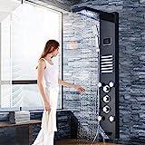 LED Duschpaneel aus rostfreiem Edelstahl mit Temperaturanzeige und 10 Massagedüsen Farbe: (Schwarz)