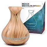 ASAKUKI Aroma Diffuser für Duftöle, 5 In 1 Ultraschall Aromatherapie Diffusor; 400ml Luftbefeuchter mit Timer, Automatische Abschaltung bei Wasserlosem Zustand, und 7 Arten LED Lichtfarben