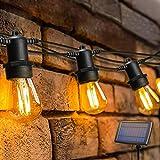 Solar Lichterkette Aussen,OxyLED S14 Lichterkette Glühbirne LED Retro,15M IP65 Wasserdicht,15 LED Birnen Warmweiß 2200K Beleuchtung für Innen und Außen Deko Garten Hochzeit
