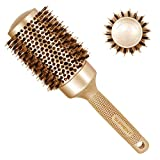 Rundbürste Haarbürste Rund Wildschweinborsten SUPRENT Rundbürste Groß 54/84mm mit Naturborsten Rundbürste für Lange Haare, Glänze und Volumen Gold