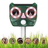Mansso Solar Ultraschall Abwehr Katzenschreck, mit LED-Starklicht, Schallalarm, Katzenschreck Tiervertreiber mit 2 Lademodi, bis zu 200 m Reichweite, wasserdicht IP55, 2 Frequenzen (grün)