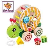 Eichhorn Nachzieh-Stecktier, mit 4 versch. Steckbausteinen, Birkenholzspielzeug mit Bewegung, für Kinder ab 1 Jahr, Größe: 15x24x19,5cm