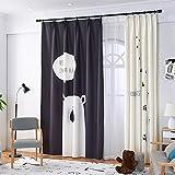 GWELL Kinderzimmer Gardinen Vorhang Bär Motiv Ösenschal Dekoschal für Wohnzimmer Schlafzimmer 245x140cm(HxB) 1er-Pack(schwarz linker Schal nur)