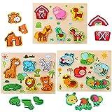 3D Kinder Tier Holzpuzzle Steckpuzzle für Kinder 1 2 3 4 Jahre, 3 Pack Holzpuzzle mit Nutztieren/ Waldtieren/ Insekten Montessori Lernspielzeug Motorikschleife Spielzeug für Jungen und Mädchen