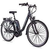 CHRISSON 28 Zoll Damen Trekking- und City-E-Bike - E-Cassiopea schwarz - Elektro Fahrrad Damen - 7G Shimano Nexus Nabenschaltung - Pedelec mit Bosch Mittelmotor Active Line 250W 40Nm, Rücktritt