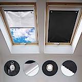 Johgee Dachfenster Rollo Thermo Sonnenschutz Silberbeschichtung Verdunkelungsrollo für VELUX Dachfenster GGU GGL GPU GPL GHU GHL GTU GTL GXU GXL (ohne bohren mit Saugnäpfen,Größe 57x100cm)