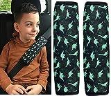 HECKBO 2x Auto Gurtschutz Sicherheitsgurt Schulterpolster Schulterkissen Autositze Gurtpolster für Kinder Jungen/Jungs mit Dino Dinosaurier
