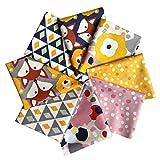 BIKHYY 8 Stück Baumwollstoff 100% Baumwolle Patchwork 46x56cm Stoff Quadrate Nähstoffe Stoffpaket mit verschiedenen Muster für DIY Nähen Deko Bunt Wälder