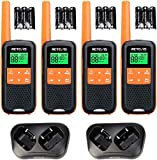 Retevis RT649 Walkie Talkie Lizenzfrei PMR446 Funkgerät Set 16 Kanäle VOX LED Taschenlampe Scan Zwei Lademethoden Walkie Talkie Profi (Orange, 4 STK.)