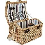 ZORMY Weiden-Picknickkorb für 2 Personen, großes Weiden-Picknick-Set mit Streifenfutter, inkl. Besteck, Brille und Zubehör