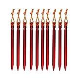 Nikgic Aluminiumlegierung Zeltheringe mit Seil Zelt-Heringe Zeltpflock Zeltheringe Aluminium Außenzelt Nagel Sandhering Zeltnagel 10 Stück (Rot)