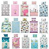 Kinder Bettwäsche 100 x 135 cm + Kissen 40 x 60 cm 100% Microfaser, mit verschiedenen Motiven - Kinderbettwäsche-Set, Babybettwäsche, Träum Süß