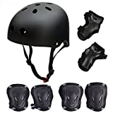 Skateboard / Skate Protektoren Set mit Helmet -- Skate Helmet Knie Pads Elbow Pads mit Handgelenkschoner für Skate, Skateboard, Roller Skate, BMX, Bike und anderen Extreme Sports,für Kopf L (57-62 cm) Schwarz