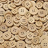 100 Gramm rustikale, naturbelassene Holzknöpfe (ca. 250 Stück) - Durchmesser ca. 12 bis 20 mm rund - Vierloch-Knöpfe aus Holz zum Scrapbooking, Nähen, Basteln und Dekorieren