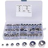 Hakkin Kontermuttern Sechskantmuttern 304 Edelstahl Klemmmuttern Set 165 teilig Nylon-Mutternsortiment Größe M3-M12