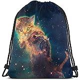 Gym Drawstring Bags, kleine Katze Touching Space Tote Rucksack Sackpack Gym Sack Bag für Gym Schwimmhandschuhe Aufbewahrungstasche