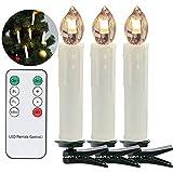 VINGO LED Weihnachtskerzen 30er LED Kerzen Lichterkette mit Fernbedienung Kabellos Baumkerzen LED-Mini-Christbaumkerzen, Dimmbar mit Timer-Funktion