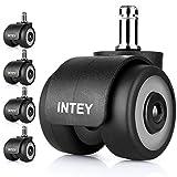 INTEY 5er Set Hartbodenrollen, 11x22 mm Bürostuhl Rollen, Doppelrad-Design, Durchmesser 50 mm, leicht und leise, belastbar bis 140kg